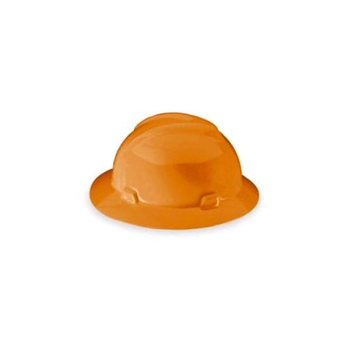 MSA 10021292 V-Gard Full Brim Hard Hat, Fas-Trac, Hi-Viz Orange