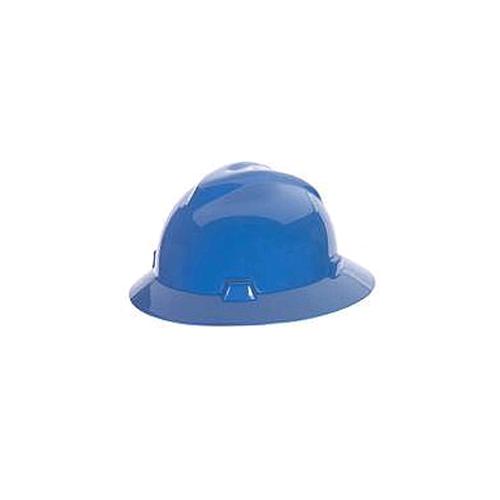 MSA 475368 V-Gard Full Brim Hard Hat, Fas-Trac, Blue