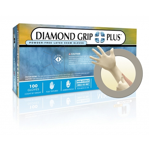 Microflex Diamond Grip Plus Powder Free Textured Latex Gloves