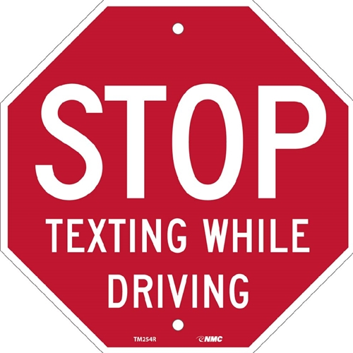 Stop Texting Stop Sign Traffic Sign (TM254R)