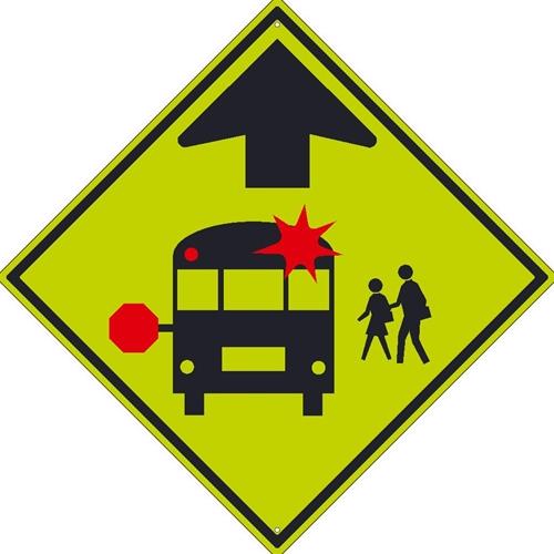 School Bus Stop Ahead Mutcd Sign (TM603DG)