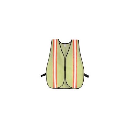 Safety Vest, Lime Green Mesh with Orange/Silver Reflective Tape