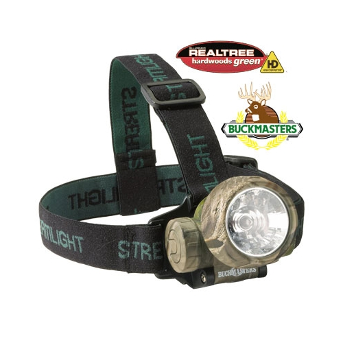 Streamlight Buckmasters Headlamp, Camo Trident - Green LEDs, alkaline batteries - Camo