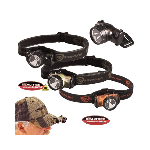 Streamlight Enduro Camo Headlamp with alkaline batteries, Elastic Strap - Black