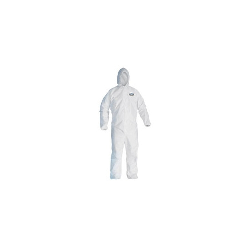 Kleenguard A10 Light-Duty Coveralls, Zipper Front, Elastic Wrists, Attached Hood