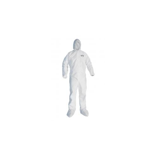 Kleenguard A10 Light-Duty Coveralls, Zipper Front, Elastic Wrists, Attached Hood & Boots