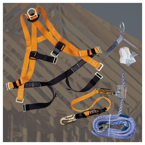 Miller TRK4500 Roofing Fall Protection Kit, Tongue & Grommet Leg Strap Buckles