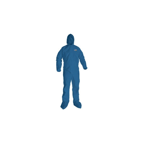 KleenGuard A20 Coveralls, Blue Demin, Zipper Front, Elastic Back, Wrists, Ankles, Hood & Boots