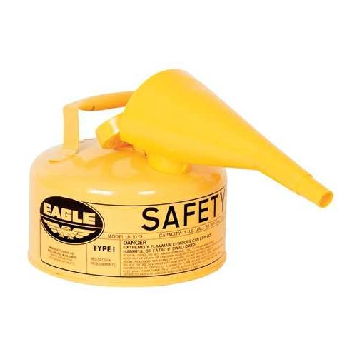 Eagle Type I Safety Can, 1 Gal, Yellow with Funnel, UI-10-FSY