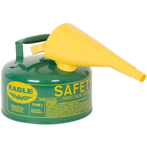 Eagle Type I Safety Can, 1 Gal, green with Funnel, UI-10-FSG