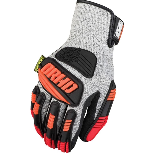 Mechanix Wear Knit ORHD Series Glove, Cut 5, Grey/Orange