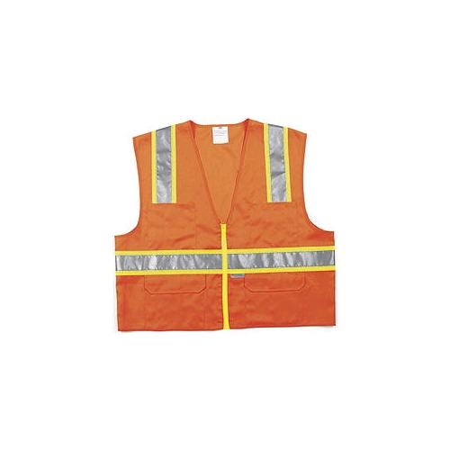 "MCR (SURVO) Class 2 Orange Surveyor Vests, Zipper Front, 2"" Silver/3"" Lime Stripes"