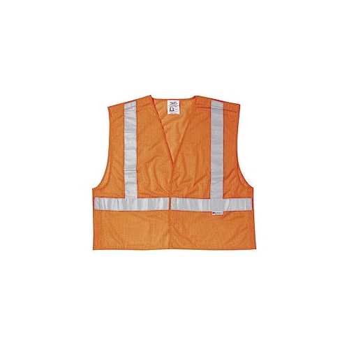 MCR (CL2MO) Class 2 Orange Polyester Tear-Away Vest, Velcro Closures