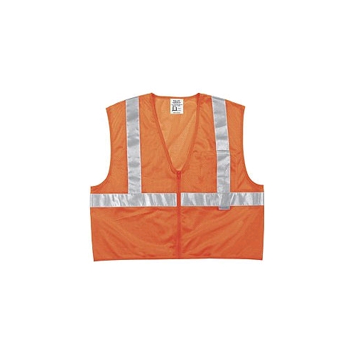"MCR (CL2MOP) Class 2 Orange Polyester Mesh Safety Vest, 2"" Silver Stripes, Zipper Front"