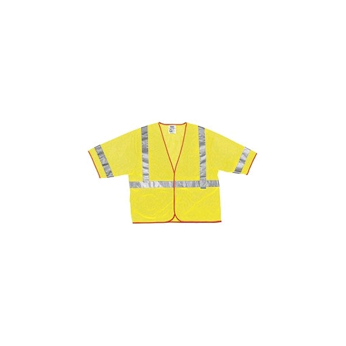 "MCR (CL3ML) Class 3 Lime Safety Vest, Polyester Mesh w/2"" Silver Stripe"