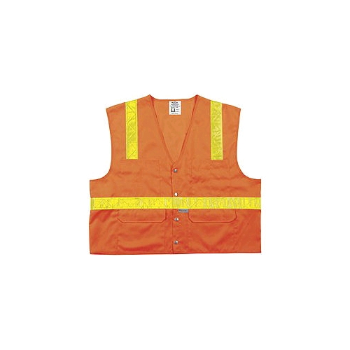 MCR (SURVOV) Class 2 Orange Surveyor Vest w/Snap Front Closure, 6 Pockets
