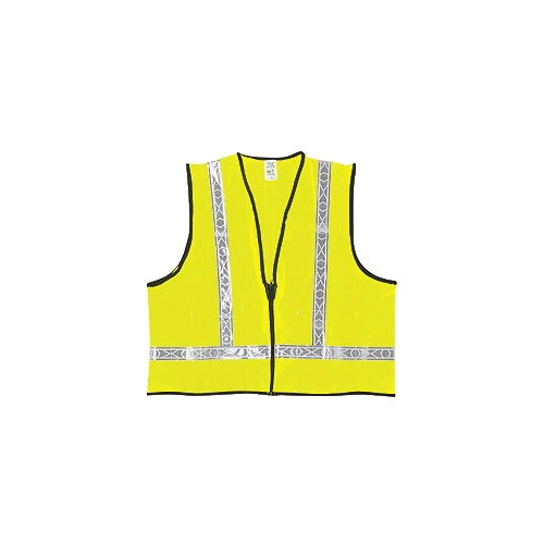"MCR (VA220R) Class 2 Polyester Safety Vest, Lime w/1-3/8"" White Striping"