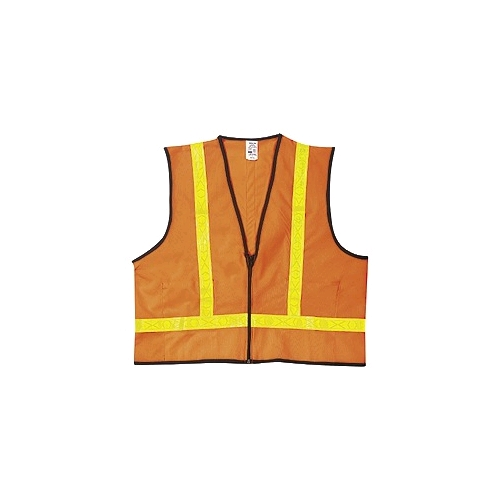 "MCR (VA221R) Class 2 Orange Polyester Safety Vest w/1-3/8"" White Striping"
