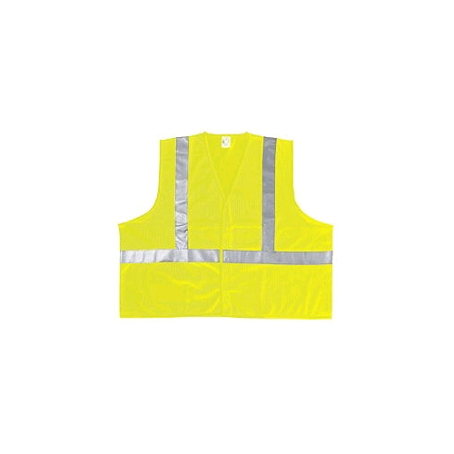 "MCR (VA320R) Class 2 Lime Polyester Safety Vest w/2"" Silver Reflective Stripes"