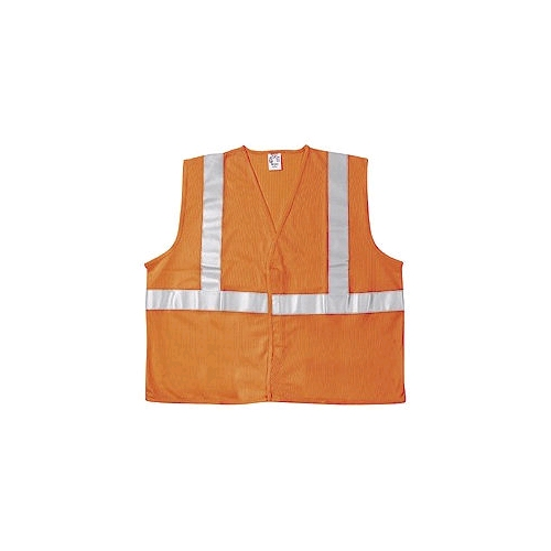 "MCR (VA321R) Class 2 Orange Polyester Safety Vest w/2"" Silver Reflective Stripes"