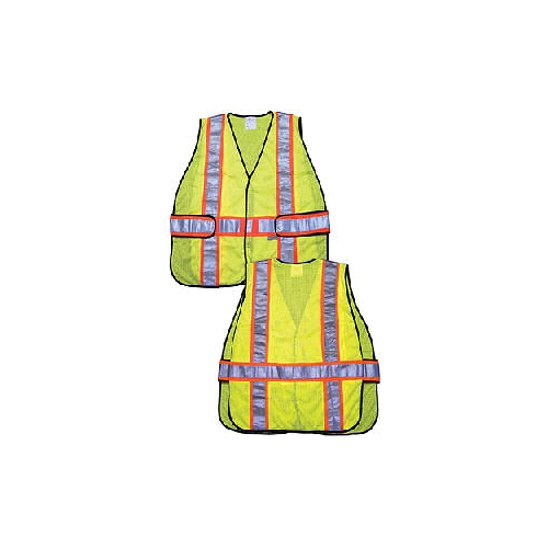 "MCR (WCCL2LA) Class 2 Safety Vest, Polyester Mesh w/3"" Orange/Silver Reflective Stripes"