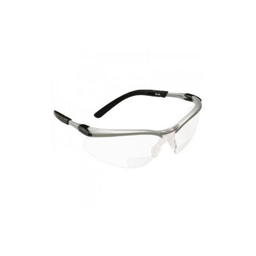 AOSafety BX Safety Glasses - Silver/Black Frame, Clear +1.5 Diopter Lens