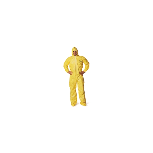 DuPont Tychem QC Coveralls w/Attached Hood, Boots, Elastic Wrists, Serged Seam