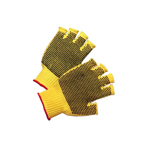 Memphis Kevlar Plus Cut Resistant Gloves, PVC Dots Both Sides, Fingerless, Large, Dozen