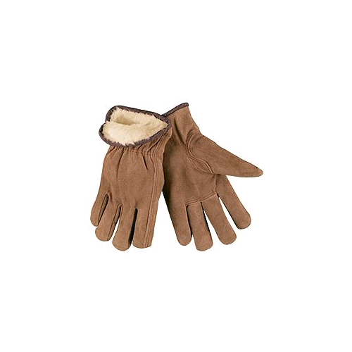 Memphis Lined Leather Drivers Gloves, Brown, Pile Lined, Split Cow, Large