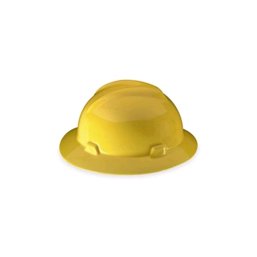MSA 454730 V-Gard Full Brim Staz-On Suspension Hard Hat, Pinlock, Yellow