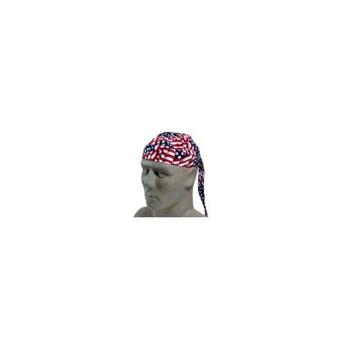 Tuff Nougies Tie Hat with Elastic Rear Band, Wavy Flag